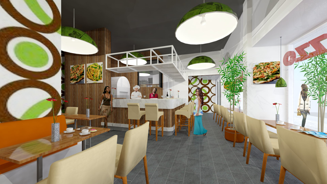 Interieurontwerp van lunchroom - restaurant in Den Haag